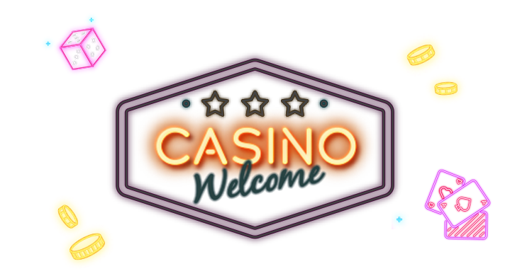 Lighten up neon style casino dices, chips and playing cards with link to Rescuebet live casino page.