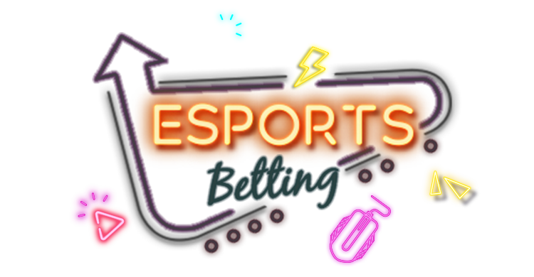 Lighten up neon style trophy, american football helmet and soccer field with link to Rescuebet esports bookies page.