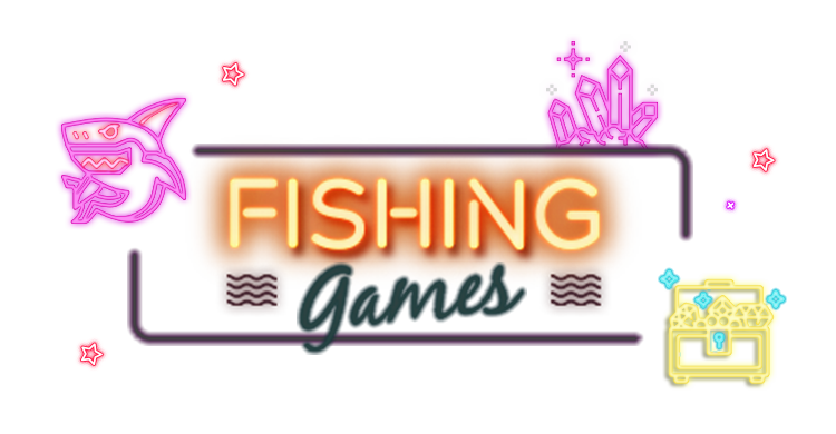 Lighten up neon style shark, treasure box and crystal with link to Rescuebet fishing game page.
