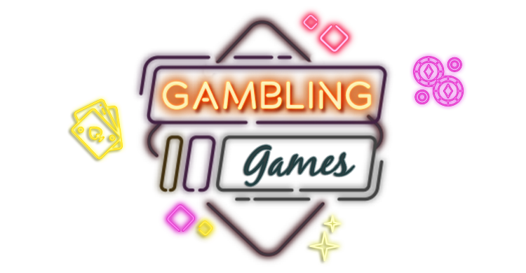 Lighten up neon style casino dices, chips and playing cards with link to Rescuebet gambling page.